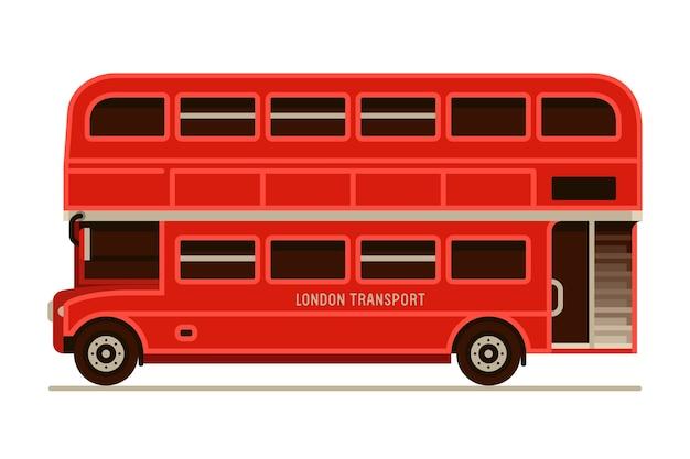 Londyn czerwony piętrowy autobus miejski transport lewej stronie widok w stylu płaski Premium Wektorów