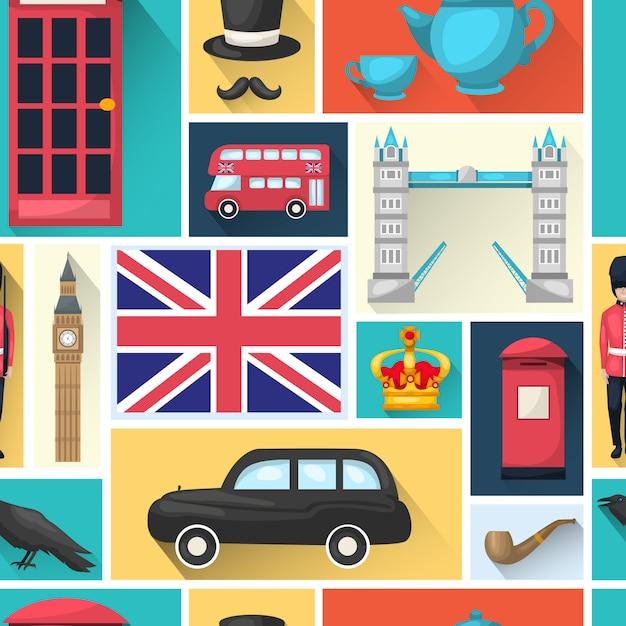 Londyn Wzór Z Zacienionym Kwadratową Ikoną Z Zabytkami Miasta Darmowych Wektorów