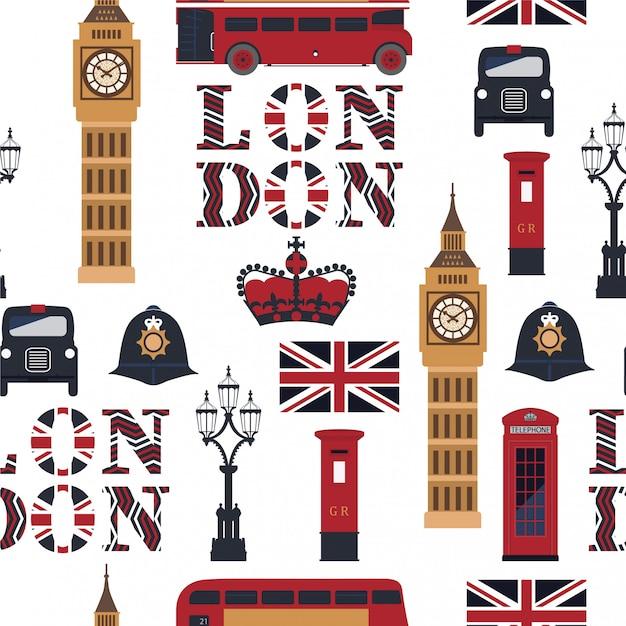 Londyński bezszwowy wzór. Premium Wektorów