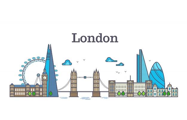 Londyński miasto widok, miastowa linia horyzontu z budynkami, europe punktów zwrotnych nowożytna płaska wektorowa ilustracja Premium Wektorów