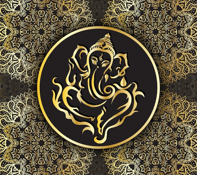 Lord ganesha line art nowoczesny design symbol luksusowy styl ganapati hinduskiego boga Premium Wektorów