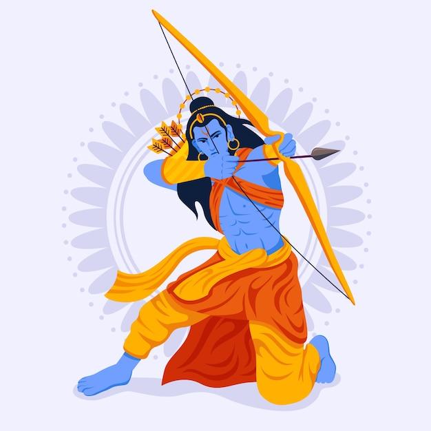 Lord Rama Siedzi W Pozycji Ataku I Używa łuku Darmowych Wektorów