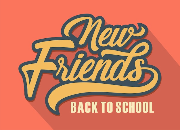 Losowanie Rąk Nowi Przyjaciele, Powitanie Powrót Do Szkoły Premium Wektorów