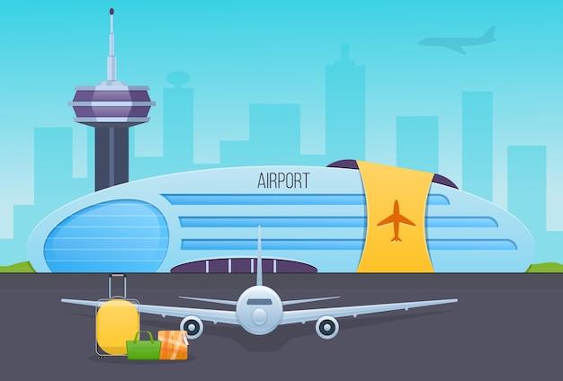 Lotnisko, Pas Startowy Z Samolotami, Budynek Lotniska, Zewnętrzna Część Budynku. Premium Wektorów