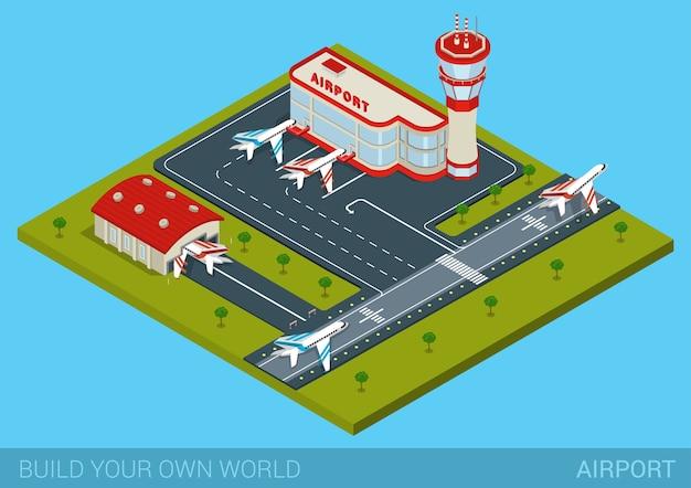 Lotnisko Płaskie D Web Izometryczny Koncepcja Infografiki Darmowych Wektorów