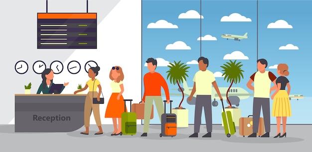Lotnisko Z Pasażerem. Zameldowanie I Rejestracja. Ludzie Z Paszportem I Bagażem W Kolejce. Koncepcja Podróży I Turystycznych. Izometryczny Premium Wektorów