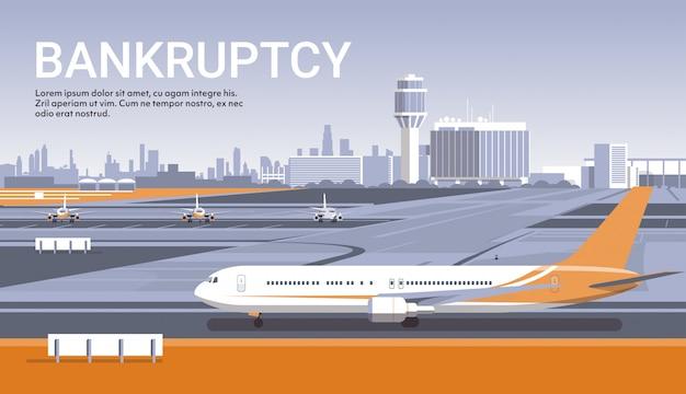 Lotnisko Z Zaparkowanymi Samolotami Koncepcja Koronawirusa Kwarantanna Pandemiczna Premium Wektorów