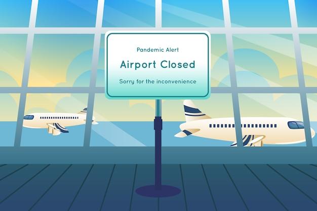 Lotnisko Zamknięte Z Powodu Pandemii Darmowych Wektorów