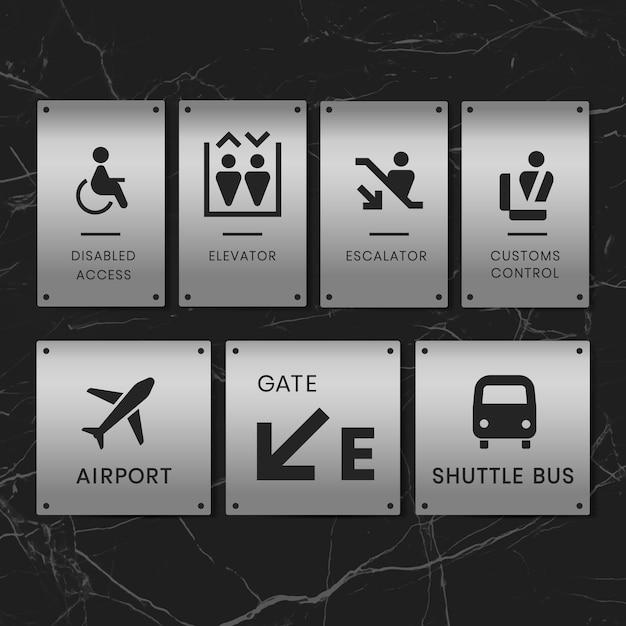 Lotnisko znaki ikona wektor zestaw Darmowych Wektorów