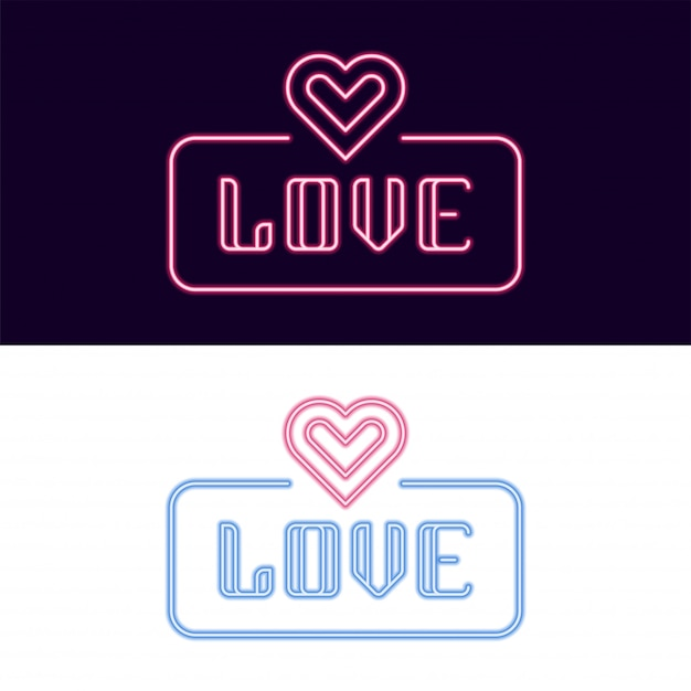 Love Neon Czcionki Z Ikoną Serca Premium Wektorów