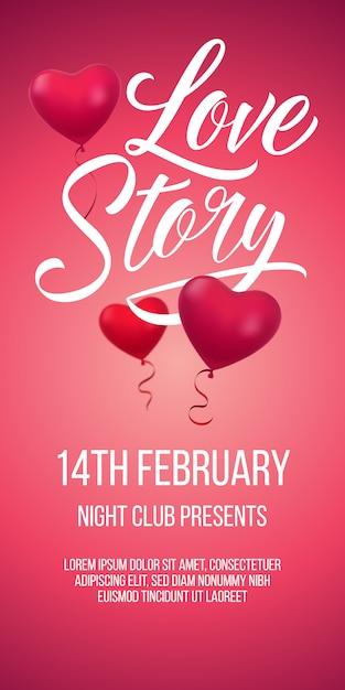 Love story napis z balonami w kształcie serca Darmowych Wektorów