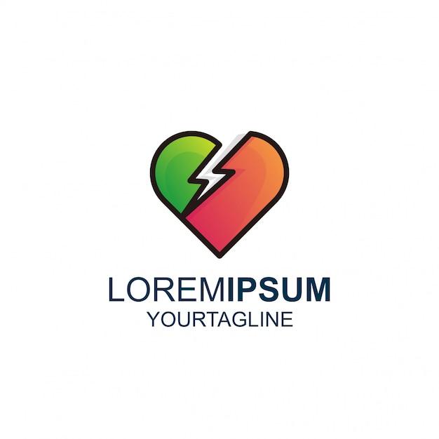 Love thunder line and color awesome inspiration logo Premium Wektorów