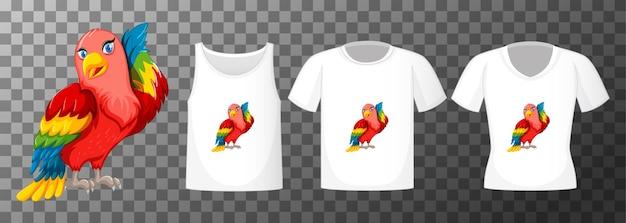 Lovebird Postać Z Kreskówki Z Wieloma Rodzajami Koszul Na Przezroczystym Tle Darmowych Wektorów