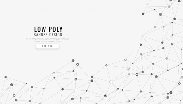 Low poly mesh abstrakcyjne linie cyfrowe tła Darmowych Wektorów