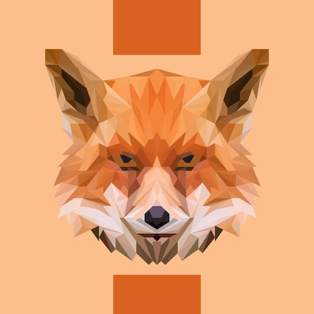 Low polygonal fox head vector Premium Wektorów