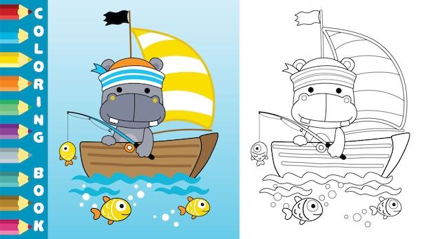 Łowienie Ryb Z Uroczym Hipopotamem Na żaglówce Premium Wektorów