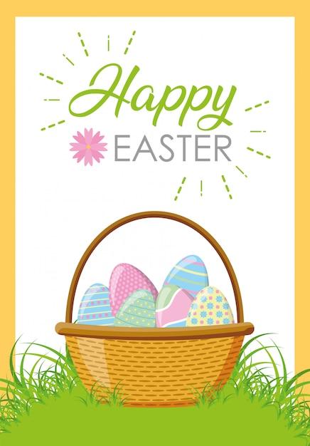Łozinowego Kosza Szczęśliwi Easter Jajka Darmowych Wektorów