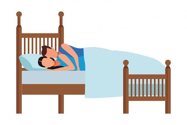 Łóżko z parą dla par Premium Wektorów