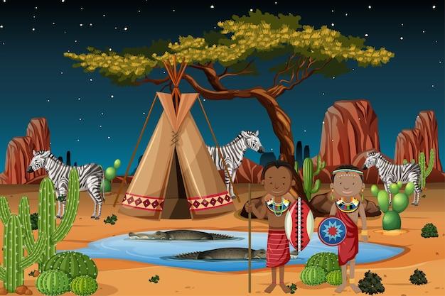 Ludność Etniczna Plemion Afrykańskich W Tradycyjnym Stroju W Przyrodzie Premium Wektorów