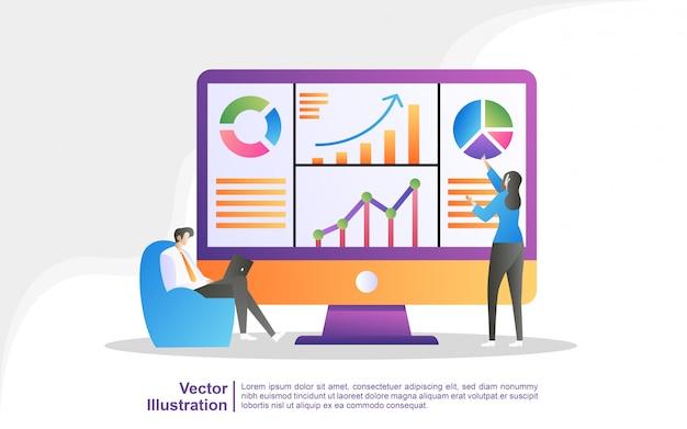Ludzie Analizują Ruchy Wykresów I Rozwój Biznesu. Premium Wektorów