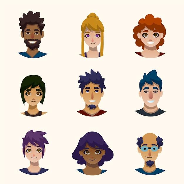 Ludzie Avatary Ilustracja Koncepcja Darmowych Wektorów