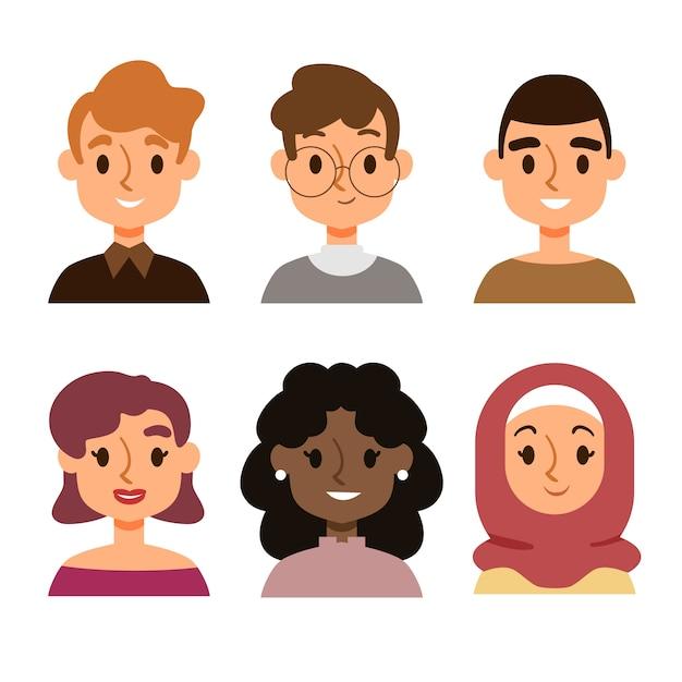 Ludzie Awatary Ilustrowane Koncepcji Darmowych Wektorów