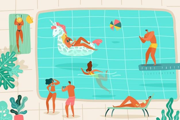 Ludzie Basen. Osoby Relaksuje Lato Basenu Pływania Pikowanie Skaczą Sunbathing Loungers Przyjęcia Kurortu Kolorową Płaską Ilustrację Premium Wektorów