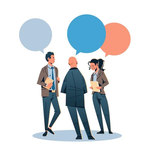 Ludzie biznesu czat komunikują się za pomocą bańki Premium Wektorów