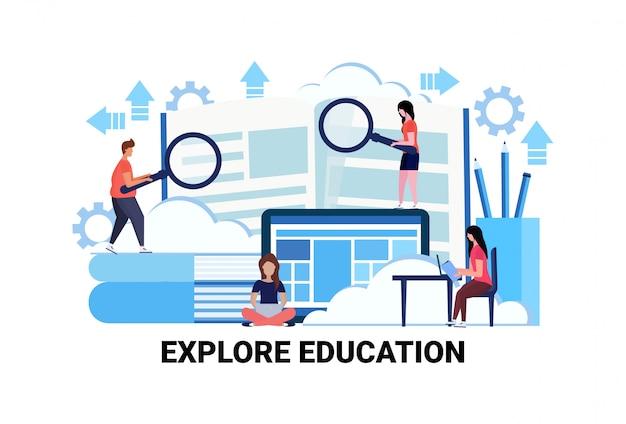 Ludzie biznesu gospodarstwa lupa powiększ wyszukiwanie nowe informacje eksploracja koncepcji edukacji Premium Wektorów