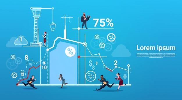 Ludzie Biznesu Grupy Bieg Zespołu Finansów Wykres Konkurencji Koncepcja Premium Wektorów