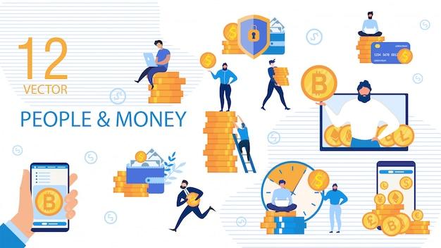 Ludzie Biznesu I Pieniądze Płaski Wektor Zestaw Pojęć Premium Wektorów