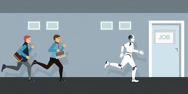 Ludzie Biznesu I Robot Konkurujący Z Drzwiami Do Pracy. Premium Wektorów