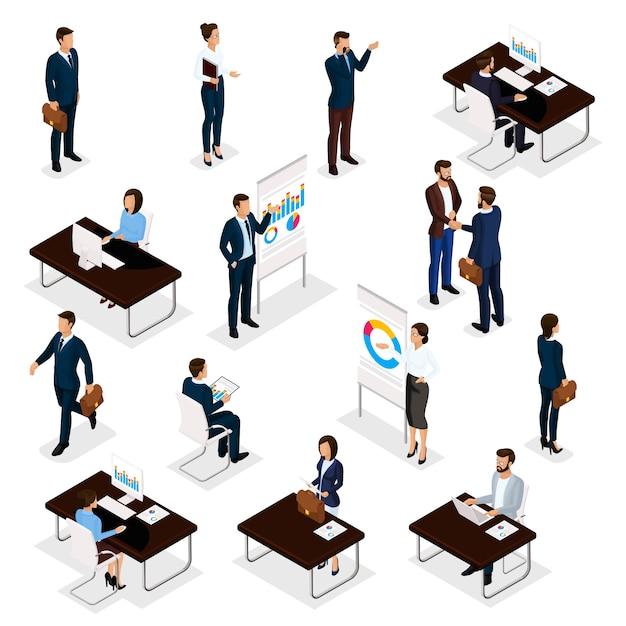 Ludzie Biznesu Isometric Setu Mężczyzna I Kobiety W Biurowych Garniturach Odizolowywających Na Białym Tle. Premium Wektorów