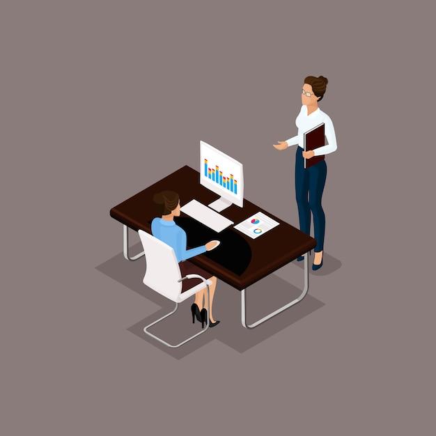 Ludzie Biznesu Isometric Setu Mężczyzna I Kobiety W Biurowym Biznesowym Pojęciu Odizolowywającym Na Szarym Tle Premium Wektorów