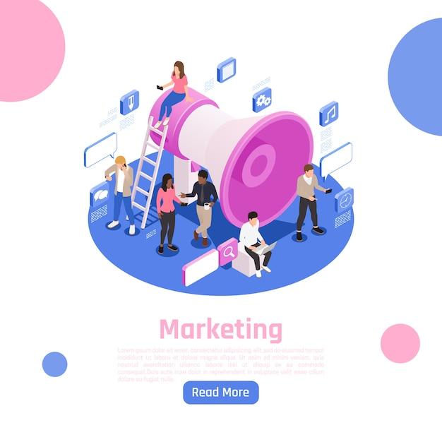Ludzie Biznesu Isometric Strona Projekta Z Marketingowymi Symbolami Ilustracyjnymi Darmowych Wektorów