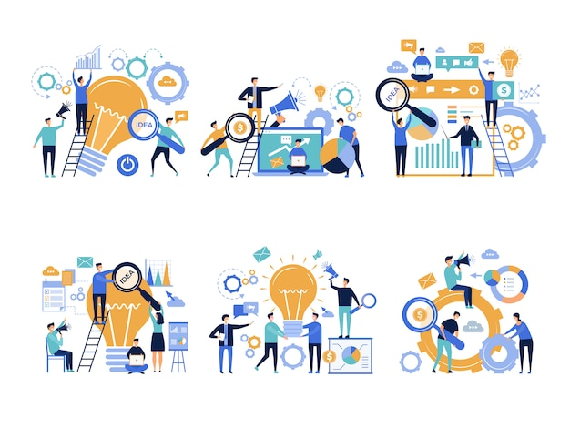 Ludzie Biznesu Kierownicy Biur Promujący I Ogłaszający Różne Produkty Kreatywne Postacie Reklamowe Marketingu Cyfrowego Premium Wektorów