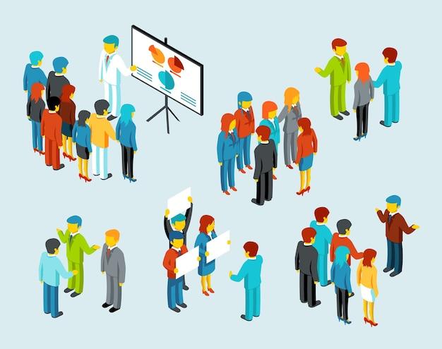 Ludzie Biznesu. Komunikacja W Zespole, Spotkanie Dyskusyjne Przedsiębiorców I Biznesmenów, Ilustracji Wektorowych Darmowych Wektorów
