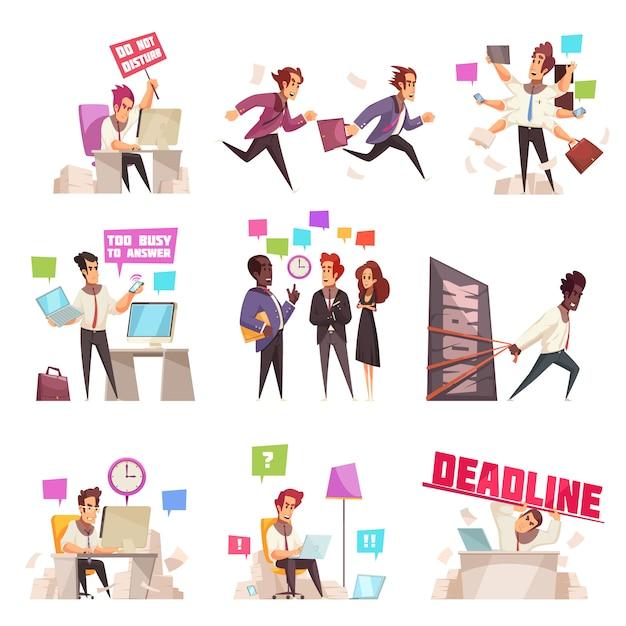 Ludzie Biznesu Odizolowywali Set Zbyt Ruchliwie I śpieszyć Pracować Urzędnika Płaską Wektorową Ilustrację Darmowych Wektorów