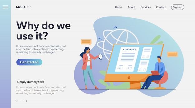 Ludzie Biznesu Podpisuje Kontrakt Online Ze Znakiem Elektronicznym Darmowych Wektorów