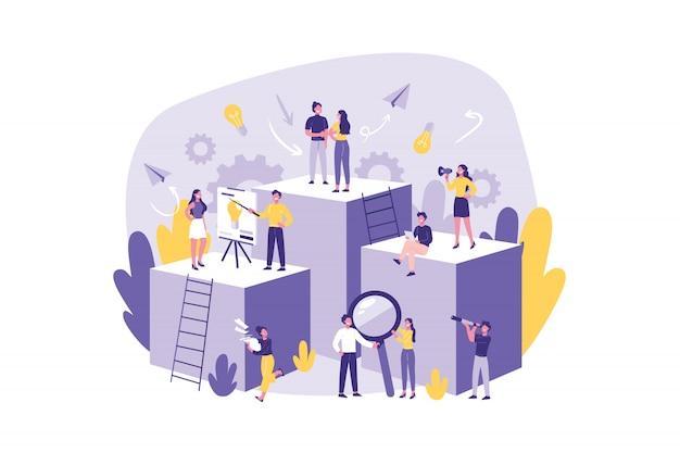 Ludzie Biznesu, Praca Zespołowa, Koncepcja. Premium Wektorów