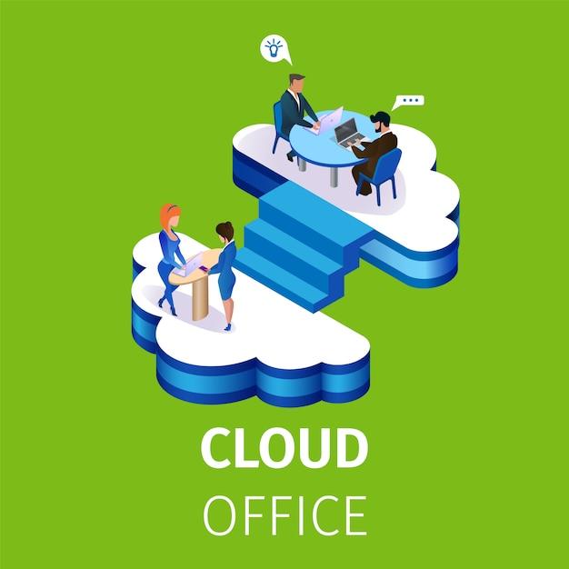 Ludzie Biznesu Pracują W Multistorey Cloud Office Premium Wektorów