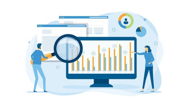 Ludzie Biznesu Pracujący Na Pulpicie Nawigacyjnym Wykresu Monitora Premium Wektorów