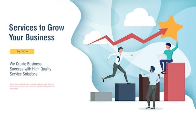 Ludzie biznesu rosnący wykres zysków z płaskiej konstrukcji i strony docelowej Premium Wektorów