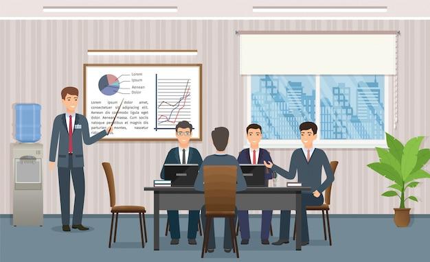 Ludzie Biznesu Spotyka W Biurze. Biznesmen Daje Prezentacji Projektu. Premium Wektorów