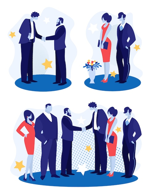 Ludzie biznesu stoją twarzą w twarz, ściskając ręce Premium Wektorów