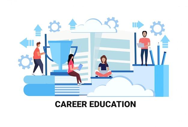 Ludzie biznesu szkolenia kursy koncepcja edukacji zawodowej udane studia przywództwo Premium Wektorów