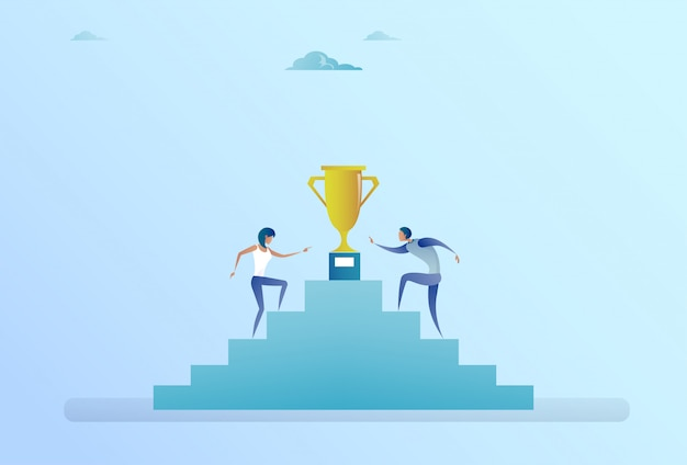 Ludzie biznesu wspinaczka po schodach aż do zwycięzcy złoty puchar sukces koncepcji konkurencji Premium Wektorów