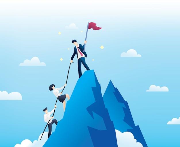 Ludzie biznesu wspinają się na szczyt góry Premium Wektorów