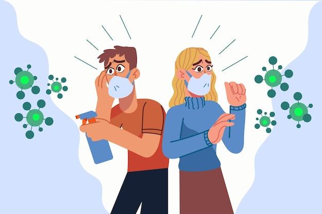 Ludzie Boją Się Choroby Koronawirusa Darmowych Wektorów