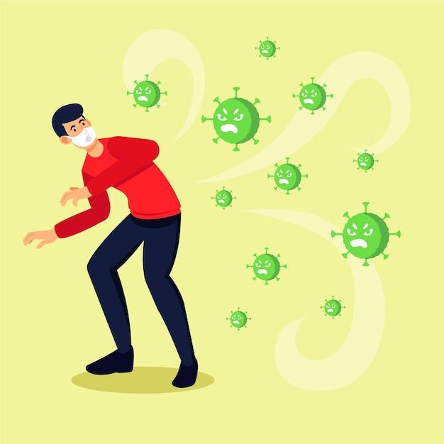 Ludzie Boją Się Choroby Koronawirusa Premium Wektorów